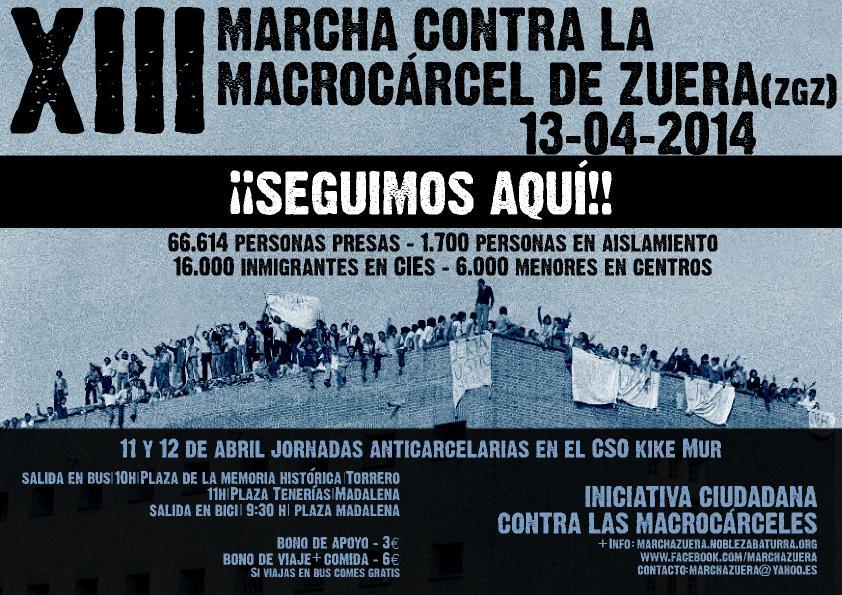Este domingo cita con la XIII Marcha contra la Macrocárcel de Zuera