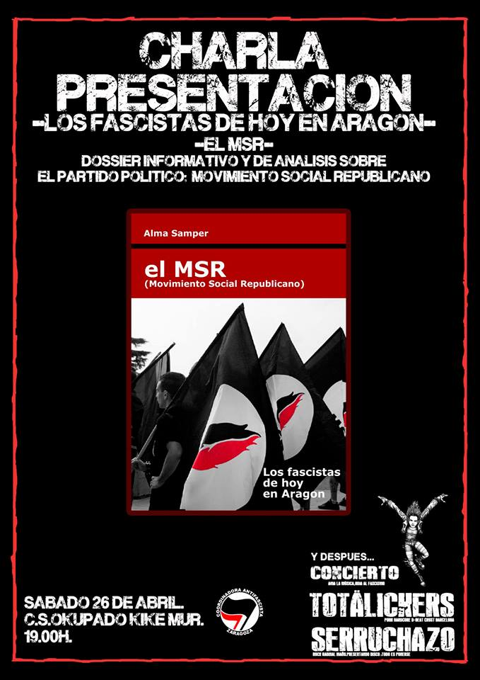 La Coordinadora Antifascista organiza la presentación de un dossier sobre el partido ultraderechista MSR