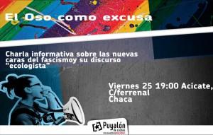 Cartel de la charla organizada por Puyalón de Cuchas con el título 'El oso como excusa'.