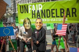 Imagen de una de las muchas protestas contra TTIP.