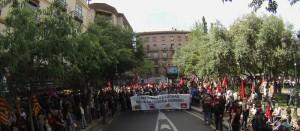 La manifestación de estos sindicatos reunió a cerca de 5000 personas. Foto: CGT Aragón