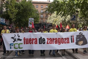 Protesta durante la huelga en Parques y Jardines. Foto: Diego Díaz (AraInfo) (Archivo)