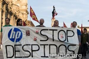 La plantilla de HP se manifestó este miércoles por el centro de Zaragoza. Foto: AraInfo [Galería de imágenes]