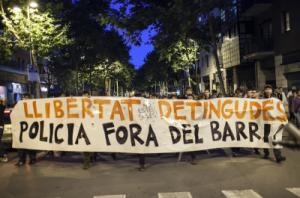 La manifestación de este jueves pedía la libertad de las personas detenidas. Foto: La Directa