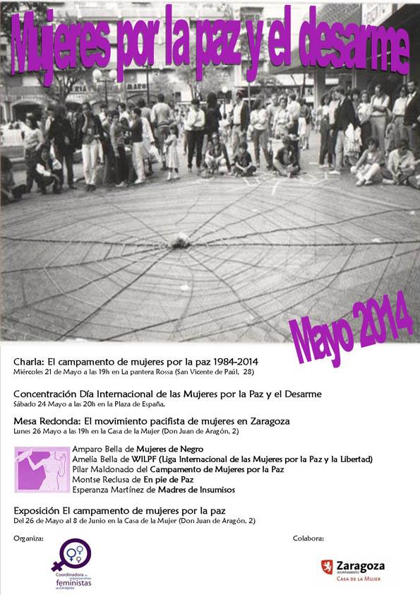 La Coordinadora Feminista de Zaragoza organiza varios actos con motivo del Día Internacional de las Mujeres por la Paz y el Desarme