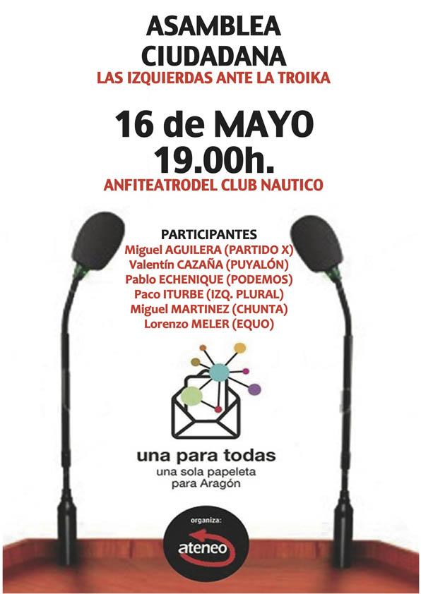 """""""Las izquierdas contra la Troika"""", nuevo debate electoral en Zaragoza organizado por Ateneo"""