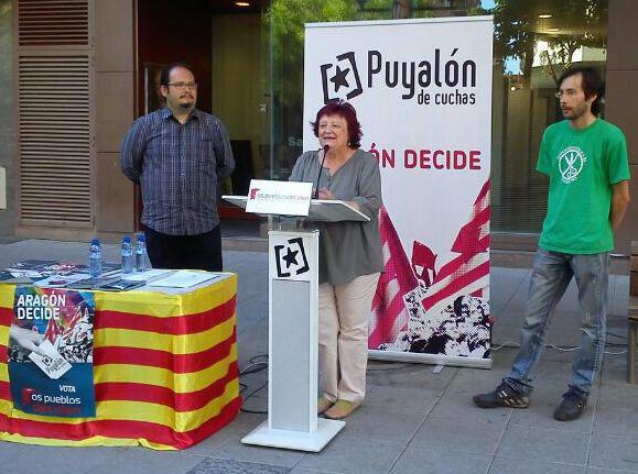 Puyalón reclama en Uesca el derecho a decidir de las y los aragoneses «en los temas que les afectan»