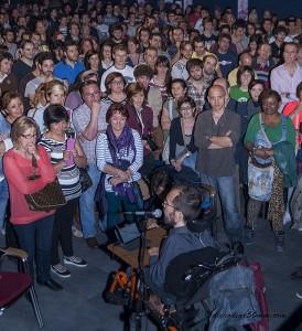 Pablo Echenique, candidato de Podemos, durante su intervención en el acto central en Zaragoza. Foto: Diego Díaz (AraInfo)