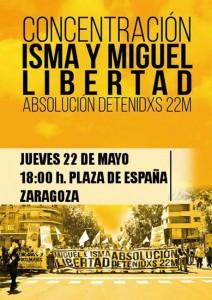 Cartel de la concentración que tendrá lugar hoy en Zaragoza.