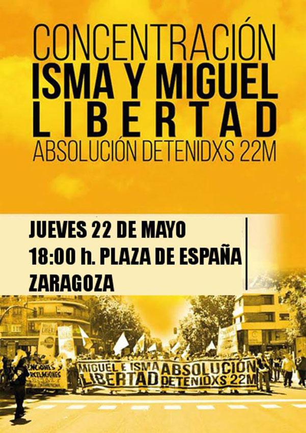 Convocan una concentración en Zaragoza para exigir la libertad de Ismael y Miguel, en prisión tras el 22M