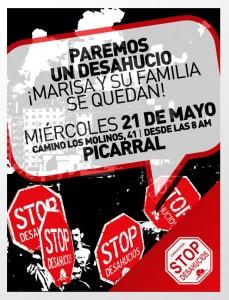 """Cartel convocando a """"parar el desahucio"""" de Marisa y su familia."""
