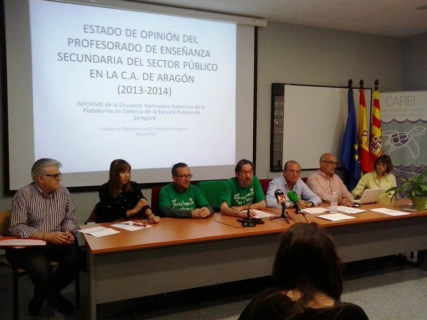 La Plataforma Escuela Pública presenta un informe sobre la opinión del profesorado de secundaria del sector público en Aragón