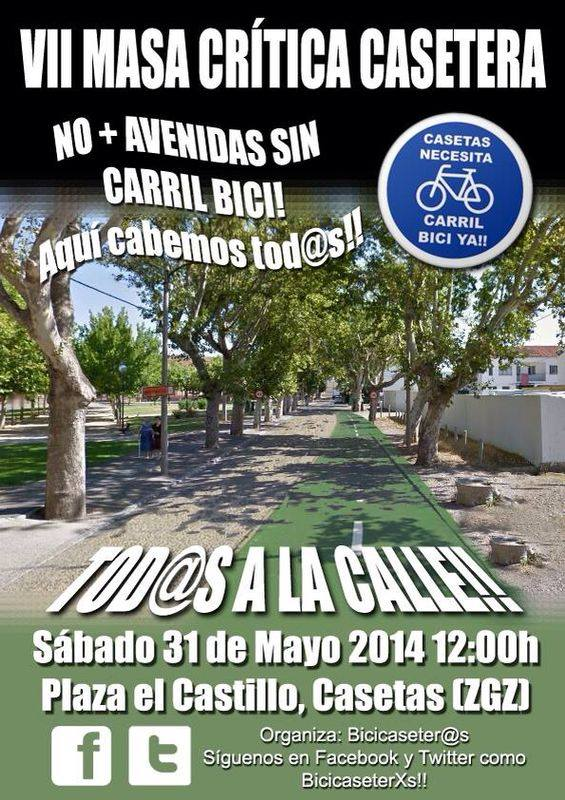 Bicicaseterxs y Pedalea reivindican el carril bici en Casetas