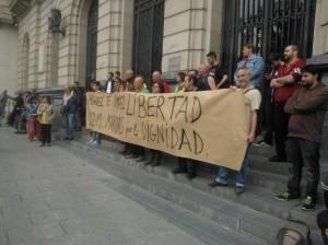 Imagen de la pasada concentración en Zaragoza -22 de mayo- por la libertad de Isma y Miguel. Foto: Kanibal Esmiz