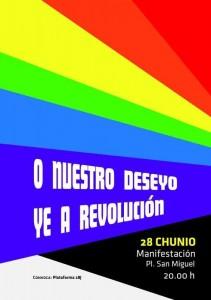 Cartel de la manifestación de este sábado, día internacional del Orgullo LGTBQI, en Zaragoza.