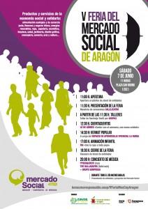 Cartel de la V Feria del Mercado Social Aragón.