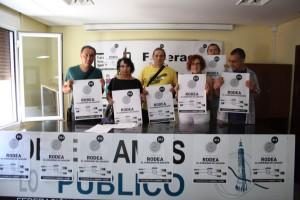 Representantes de la Plataforma por la Dignidad de Aragón en la rueda de prensa de este jueves.