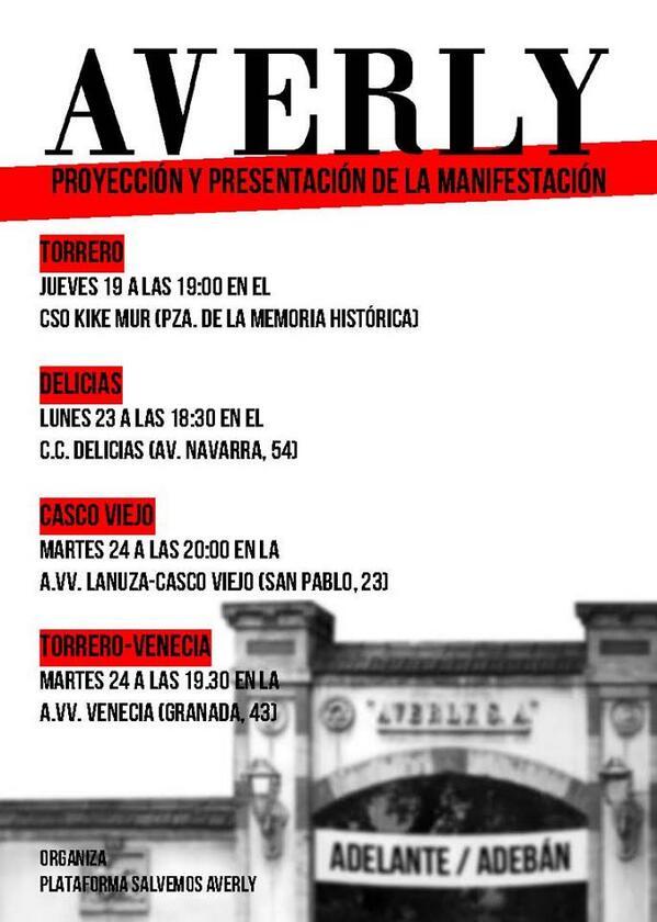 Salvemos Averly llevará su ambicioso calendario de movilizaciones por toda Zaragoza