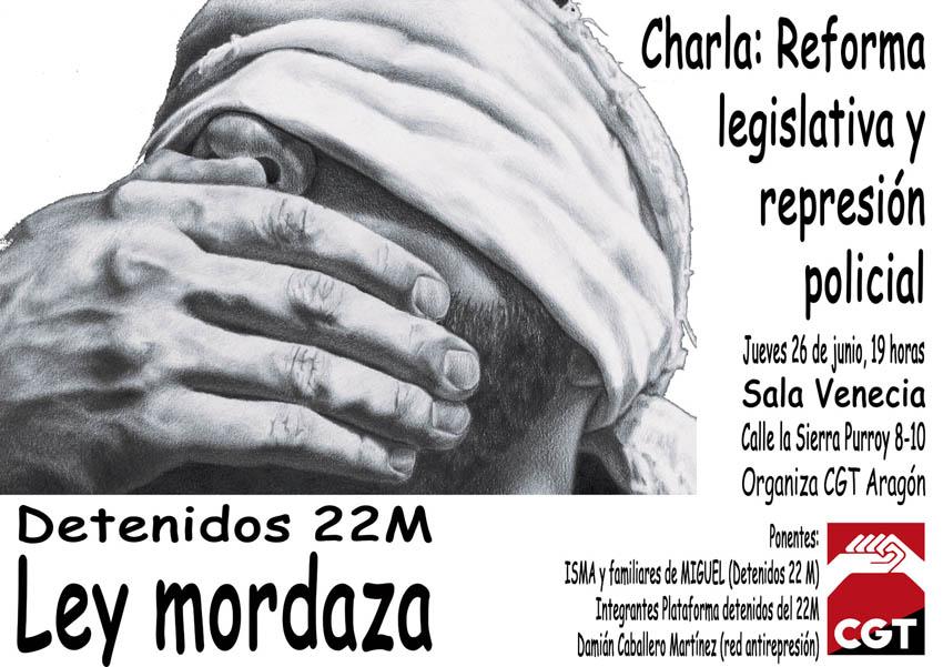 CGT organiza una charla sobre la «ley mordaza» con Isma y familiares de Miguel