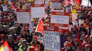Protesta de las y los trabajadores de Coca Cola.