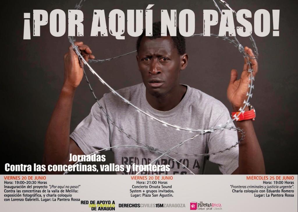 """Presentación en Zaragoza del proyecto """"¡Por aquí no paso!"""" contra las concertinas, vallas y fronteras"""