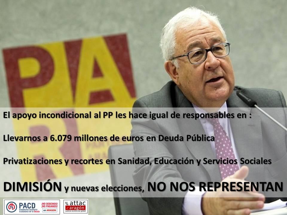 El PAR es cómplice de la Deuda Pública, las privatizaciones y los recortes del Gobierno de Aragón