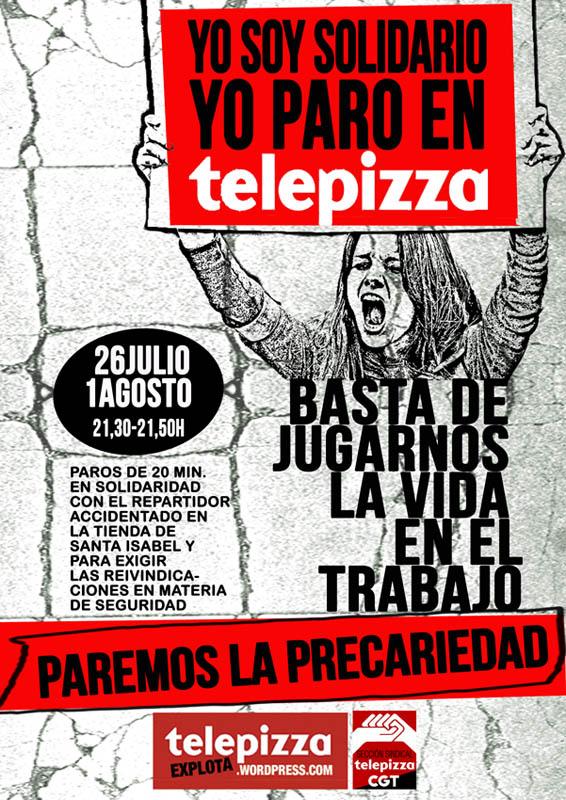 Una concentración reforzará el apoyo a la convocatoria de paro de este sábado en Telepizza Zaragoza