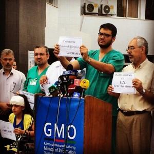 Doctores del Hospital Shifa de Gaza protestan contra las palabras de Obama. Foto: @dalliasd