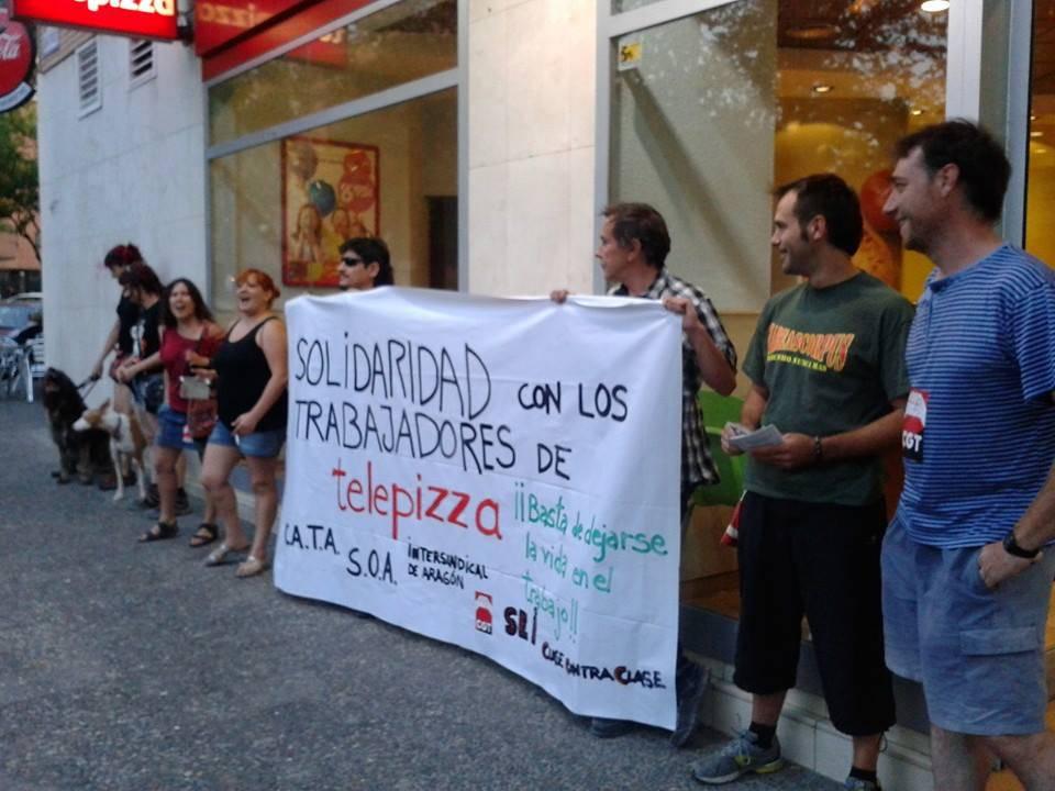 La plantilla de Telepizza comienza movilizaciones en Zaragoza contra el proceso de franquiciación