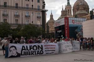 Concentración en Zaragoza por la libertad de Alfon. Foto: Diego Díaz (AraInfo) [Galería]