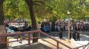 Unas 150 personas se han concentrado esta mañana en Madrid. Foto: @Alfon_libertad