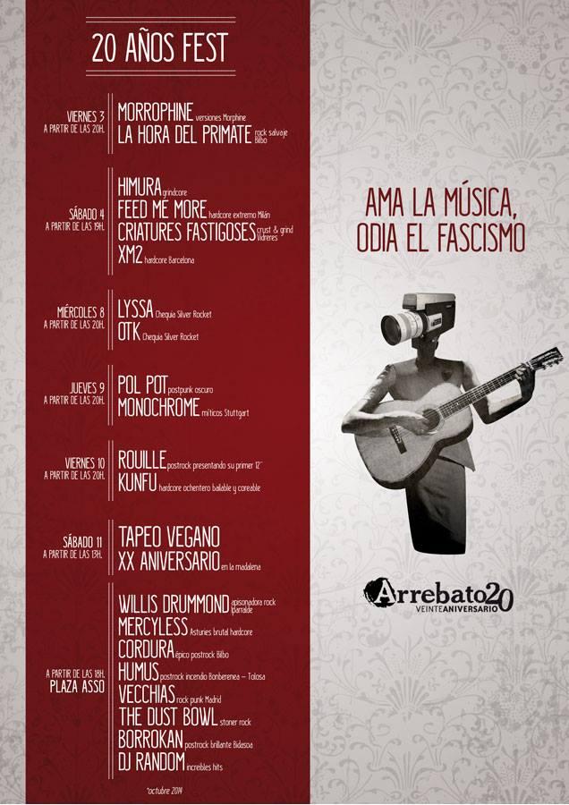 Arrebato celebra sus 20 años de autogestión del 3 al 11 de octubre