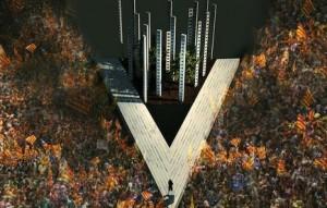 Boceto del escenario principal diseñado para la movilización del 11 de setiembre. Fuente: Ara es l´hora