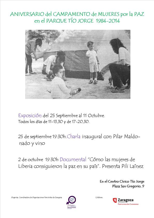 La Coordinadora de Organizaciones Feministas de Zaragoza celebra el 30 aniversario del Campamento de Mujeres por la Paz