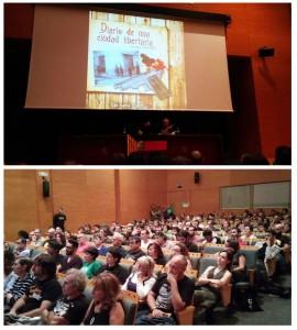 Enrike García, acompañado de Luis Palacio, presentó su libro en un Centro de Historias lleno. Fotos: @igoiz17