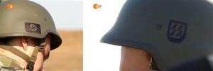 Soldados del gobierno de Poroshenko con simbología nazi en sus cascos. Foto difundida por la televisión alemana ZDF