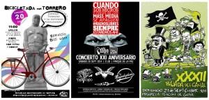 Los carteles de las tres actividades que se celebran en Torrero.
