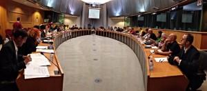 Jornada contra el fracking celebrada este jueves en el Parlamento Europeo.