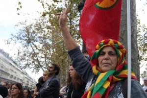 Manifestación en París en apoyo a Kobane.