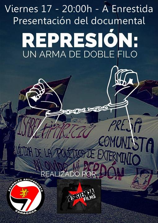 La Asamblea Antifascista de Zaragoza proyecta el documental «Represión: Un arma de doble filo»