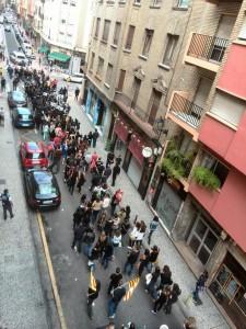 Imagen de la pasada manifestación de la plantilla de Iberalbion en Zaragoza. Foto: @barrioszgz