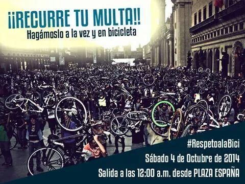 Marcha en bicicleta para presentar alegaciones a las multas