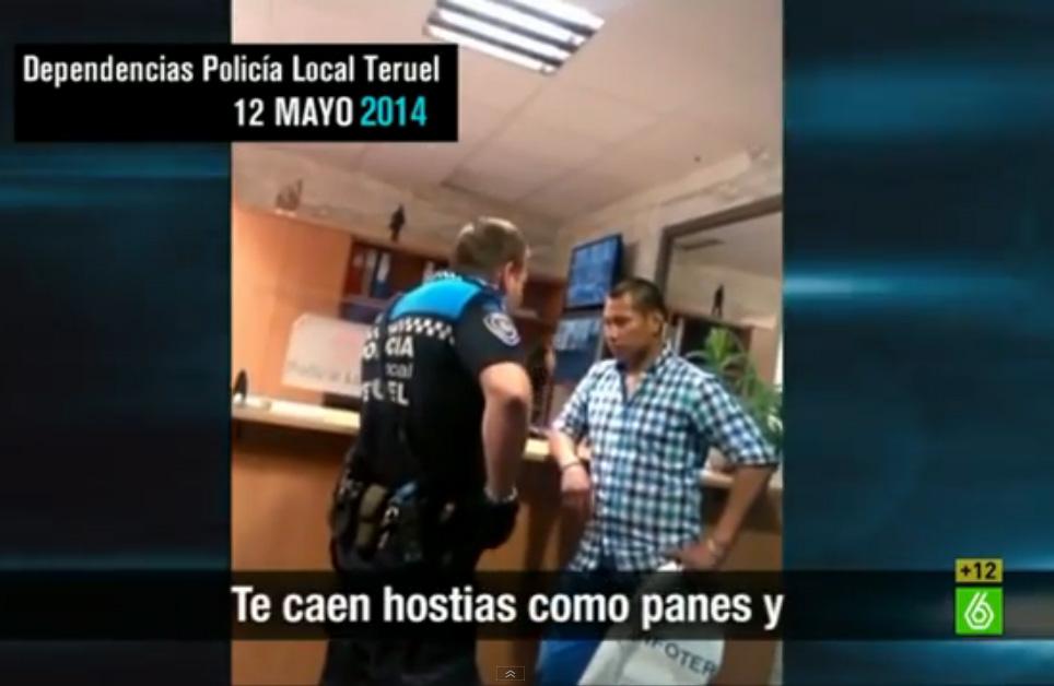 Policía local de Teruel a un detenido de origen colombiano: «Aquí a la gente que da por culo me la llevo al monte. Te caen las hostias como panes y allí te quedas»