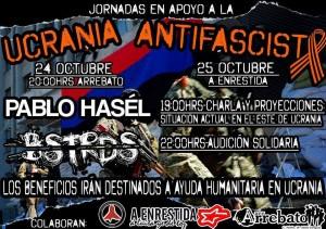 Cartel de los actos organizados por el Comité de Solidaridad con la Ucrania Antifascista de Zaragoza.