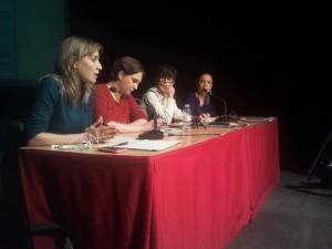 Colau, Sánchez y Díaz, en a charrada. Foto: @arainfonoticias