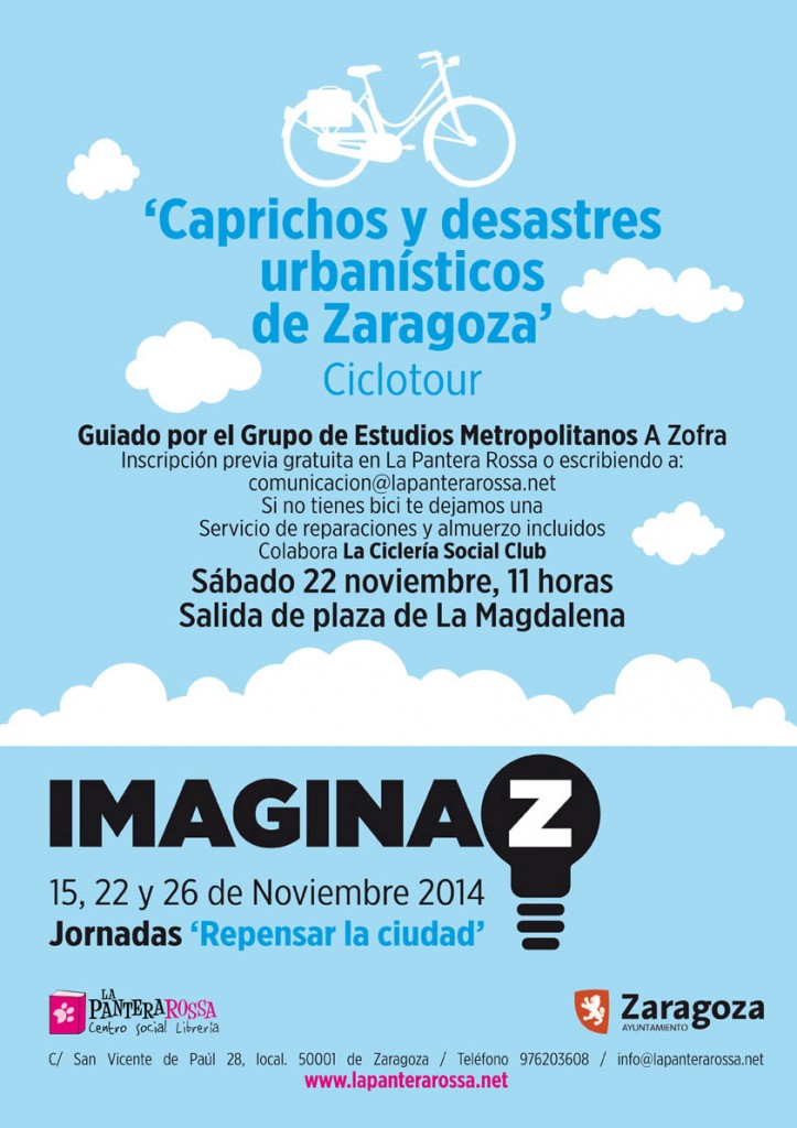 Un ciclotour urbano recorrerá los «caprichos y desastres urbanísticos» de Zaragoza
