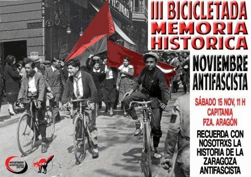 Cita con la memoria histórica en la III Bicicletada de Noviembre Antifaixista