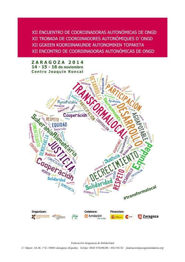 Zaragoza sede del XII Encuentro Anual de Coordinadoras de ONGD