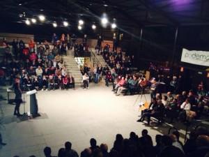 Imagen de una de las asambleas de Podemos Zaragoza.