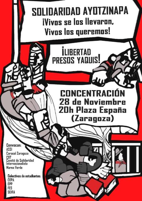 Convocan concentraciones en Zaragoza y Uesca en solidaridad con Ayotzinapa